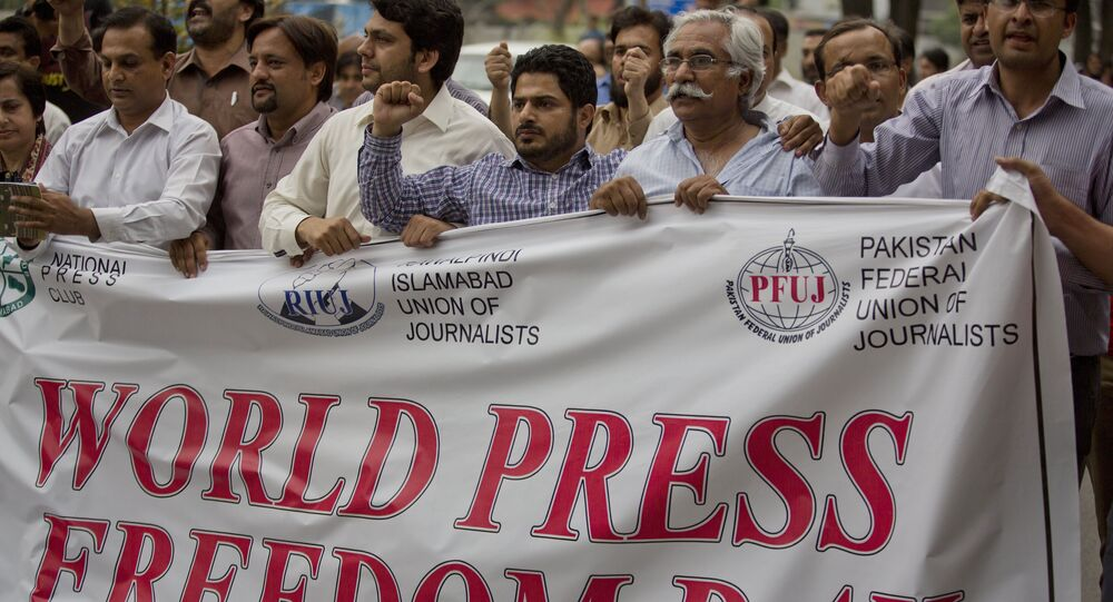 Pakistan journalists rally to observe the World Press Freedom Day in Islamabad, Pakistan, Tuesday, May 3, 2016. Dozens of journalists gathered shouting slogans for the freedom of press.