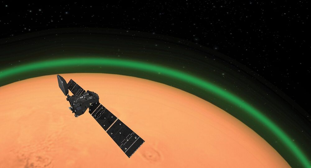 The European Space Agency's ExoMars Trace Gas Orbiter (TGO) detects glowing green oxygen aura in Martian atmosphere.