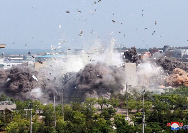 A view of an explosion of a joint liaison office with South Korea in border town Kaesong, North Korea in this picture supplied by North Korea's Korean Central News Agency (KCNA) on June 16, 2020