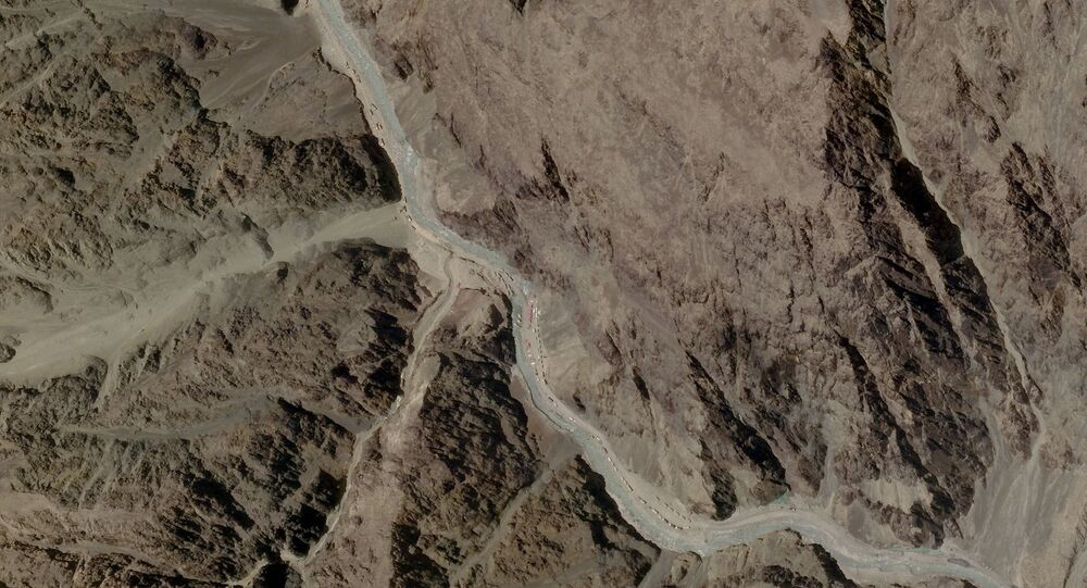 A satellite image taken over Galwan Valley in Ladakh, India, parts of which are contested with China