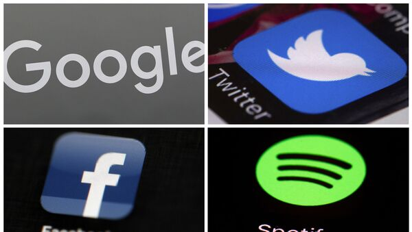This photo combo of images shows, clockwise, from upper left: a Google sign, and apps for Twitter, Spotify and Facebook. YouTube, Facebook, Twitter, Spotify and other sites are finding themselves in a role they never wanted, as gatekeepers of discourse on their platforms,  deciding what should and shouldn't be allowed and often angering almost everyone in the process.  - Sputnik International
