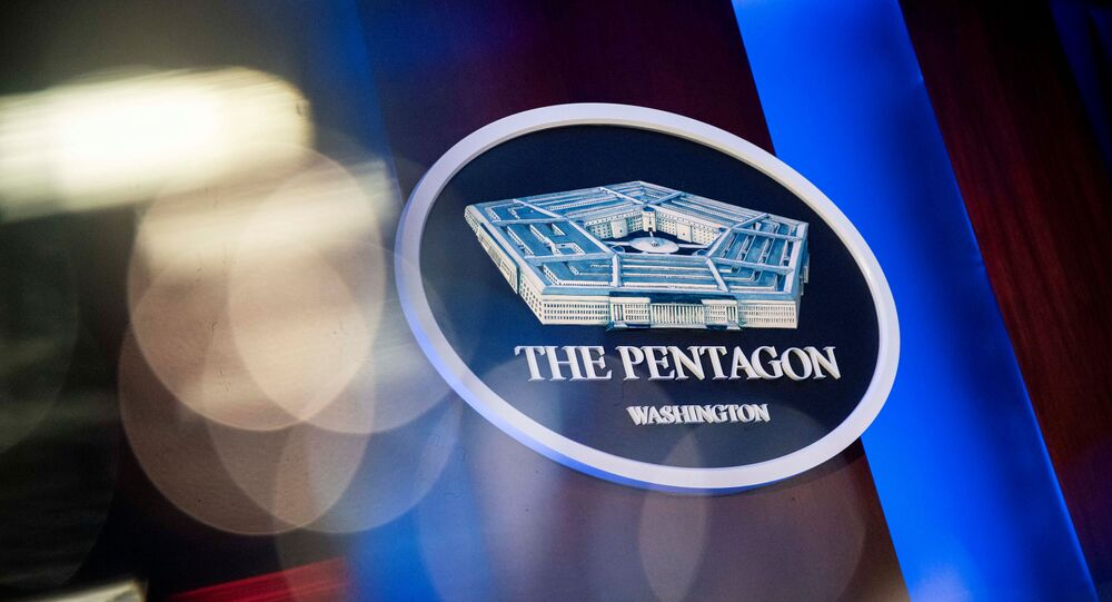 The Pentagon logo is seen behind the podium in the briefing room at the Pentagon in Arlington, Virginia, US, 8 January  2020.