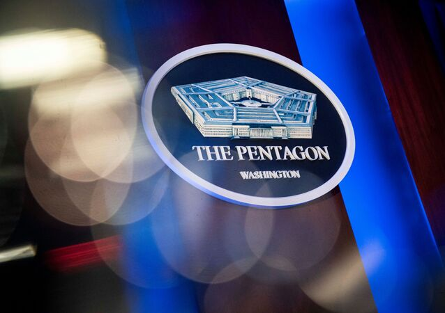The Pentagon logo is seen behind the podium in the briefing room at the Pentagon in Arlington, Virginia, U.S., January 8, 2020.