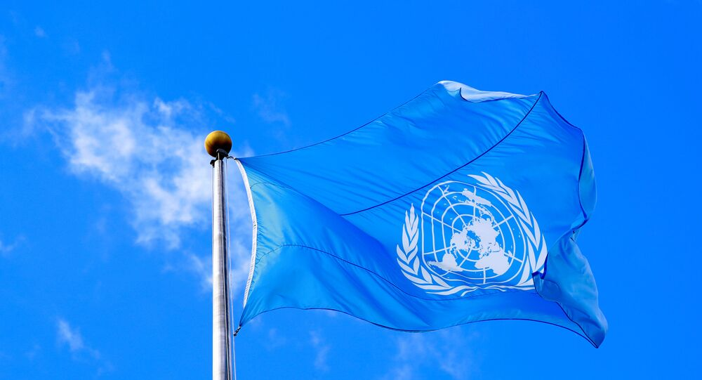 The United Nations flag is seen during the 74th session of the United Nations General Assembly at U.N. headquarters in New York City, New York, U.S., Sept. 24, 2019