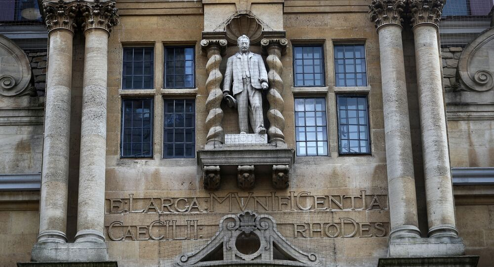 A statue of British colonialist Cecil Rhodes is seen on the side of Oriel College in Oxford, following the death of George Floyd who died in police custody in Minneapolis, Oxford, Britain, June 9, 2020.