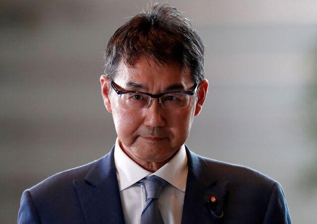 Katsuyuki Kawai arrives to Prime Minister Shinzo Abe's official residence in Tokyo, Japan September 11, 2019
