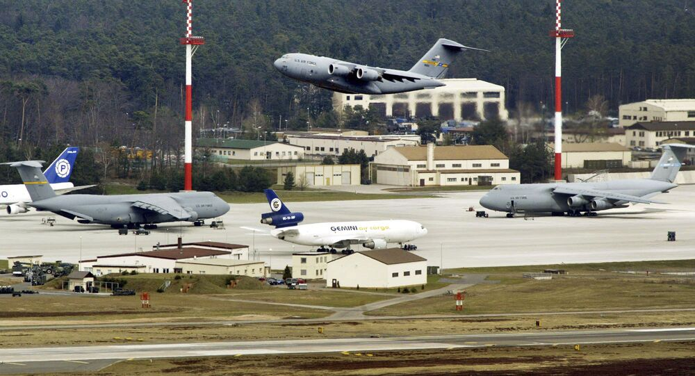 File---In this Thursday, April 3, 2003 file photo an aircraft departure from US Air Base Ramstein, Germany