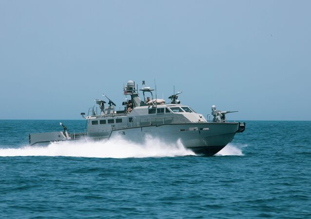 A Mark VI patrol boat participates in the bilateral Mine Countermeasures Exercise 2020 (MCMEX 20) with the mine countermeasures ship USS Gladiator (MCM 11) in the Arabian Gulf, March 28. Gladiator is forward-deployed to the U.S. 5th Fleet area of operations in support of naval operations to ensure maritime stability and security in the Central region, connecting the Mediterranean and the Pacific through the Western Indian Ocean and three strategic choke points