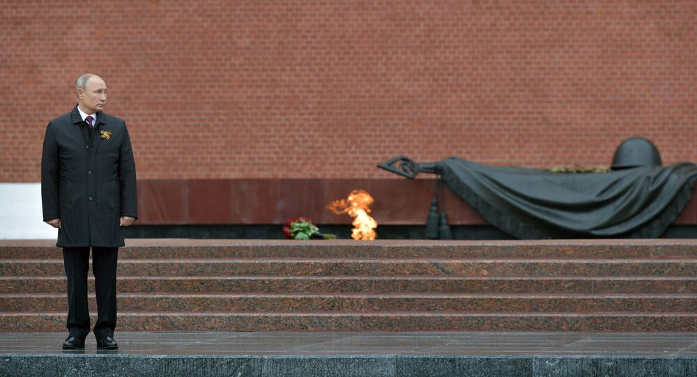 Russian President Vladimir Putin on the ceremony of laying flowers on the Unknown Soldier's Grave, Alexander Garden, 9 May 2020