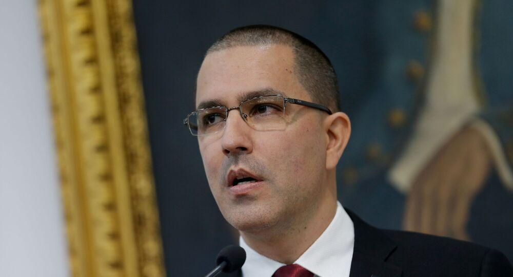 Venezuelan Foreign Minister Jorge Arreaza attends a news conference in Caracas, Venezuela, February 5, 2020.