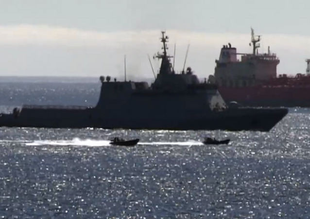 A screenshot of Royal Navy speedboats escorting the Spanish warship Rayo P-42 after it entered British Gibraltar Territorial Waters during a Royal Navy training exercise, 18.06.2020.
