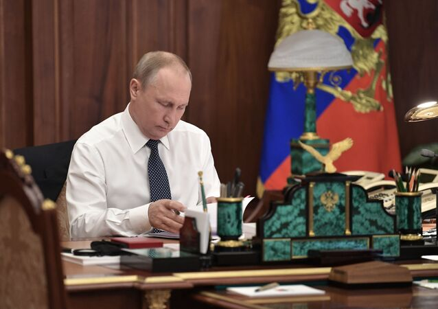 May 7, 2018. Russian President-elect Vladimir Putin in his office before the inaugural ceremony in the Kremlin