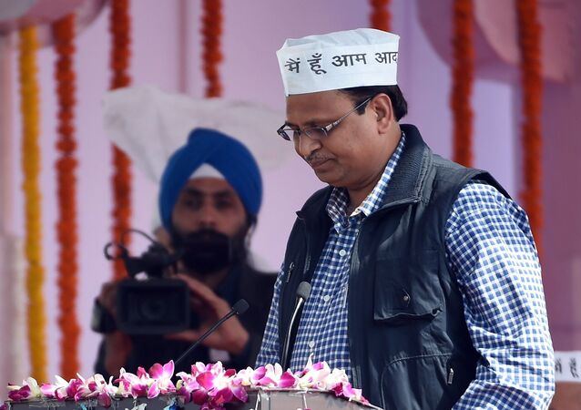 Aam Aadmi Party (AAP) leader Satyendra Jain during the Delhi state swearing-in ceremony in New Delhi on February 14, 2015
