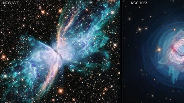 The NASA/ESA Hubble Space Telescope demonstrates its full range of imaging capabilities with two new images of planetary nebulae. The images depict two nearby young planetary nebulae, NGC 6302, dubbed the Butterfly Nebula, and NGC 7027. Both are among the dustiest planetary nebulae known and both contain unusually large masses of gas, which made them an interesting pair for study in parallel by a team of researchers. - Sputnik International