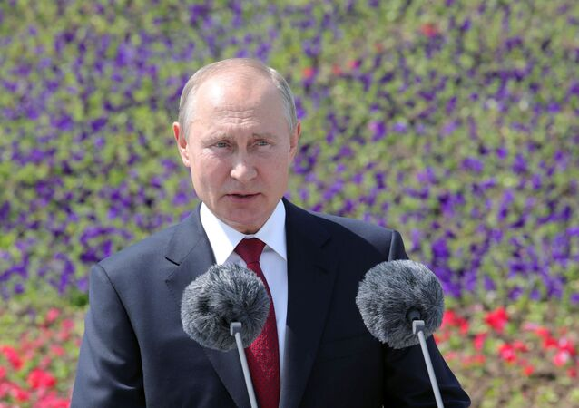 Russian President Vladimir Putin delivers a speech during an awards ceremony marking Russia Day in Moscow, Russia June 12, 2020.