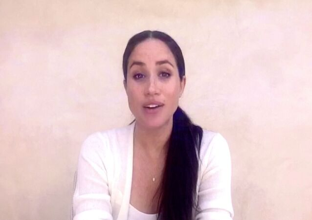 The Duchess of Sussex Meghan Markle comments on protests against racism after the death of George Floyd, in this undated still image from a video in an undisclosed location.
