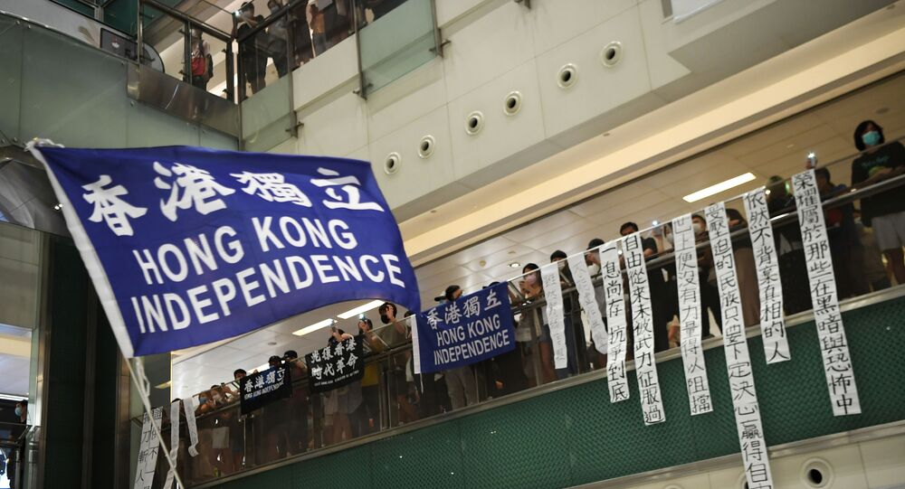 A pro-democracy protester waves a pro-independence banner during a protest at the New Town Plaza mall in Sha Tin in Hong Kong, China June 12, 2020