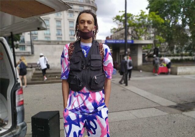 Phoenix, a musician and co-organiser, of a BLM protest in London. 20 June 2020