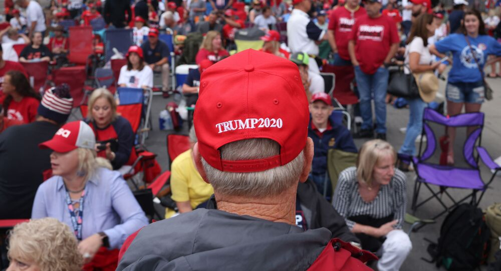 Supporters of U.S. President Donald Trump gather to attend a campaign rally at the BOK Center, June 20, 2020 in Tulsa, Oklahoma. President Trump is scheduled to hold his first political rally since the start of the coronavirus pandemic at the BOK Center on Saturday while infection rates in the state of Oklahoma continue to rise
