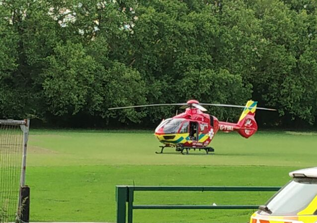 An ambulance helicopter at Forbury Garden, Reading Park