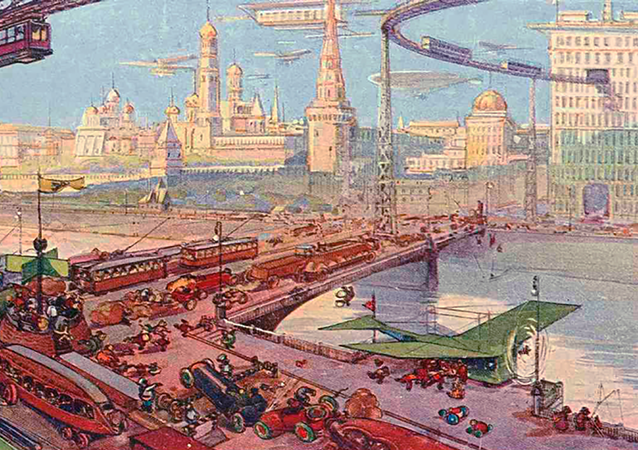 Moskvoretsky Bridge with the White Kremlin in the background. The artist depicted a large number of cars and other means of transportation passing across the bridge while a plane is readying for takeoff nearby. Another notable feature is the airtracks for trams just above the bridge.
