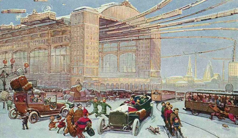 A busy terminal for surface and air transport in the snowy winter as imagined by an early 20th century artist.