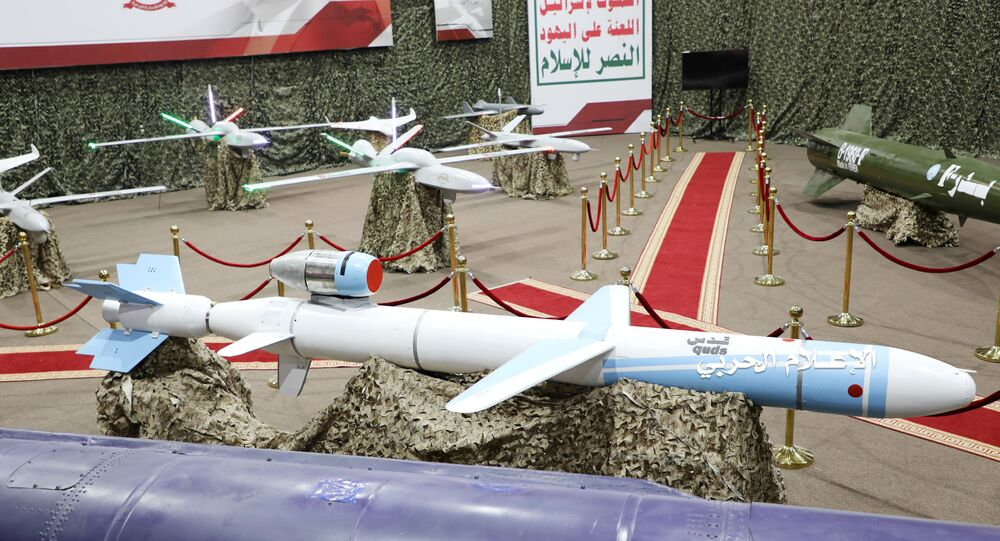Missiles and drone aircrafts are put on display at an exhibition at an unidentified location in Yemen in this undated handout photo released by the Houthi Media Office July 9, 2019.