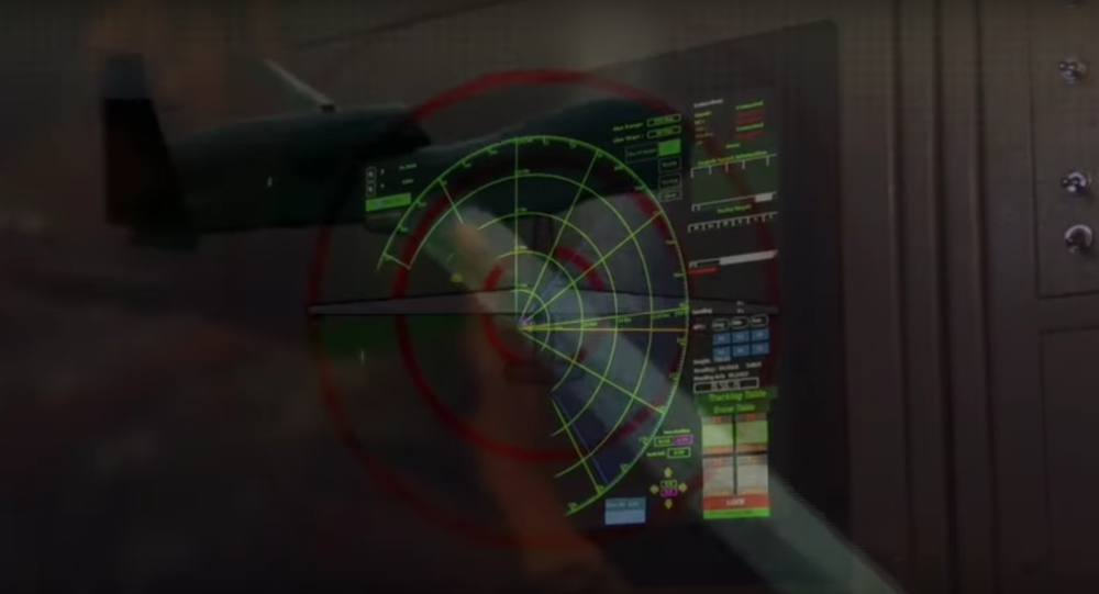 Screengrab from video by Iran's Revolutionary Guard air defence forces on the shootdown of a US drone over the Hormoz Strait.