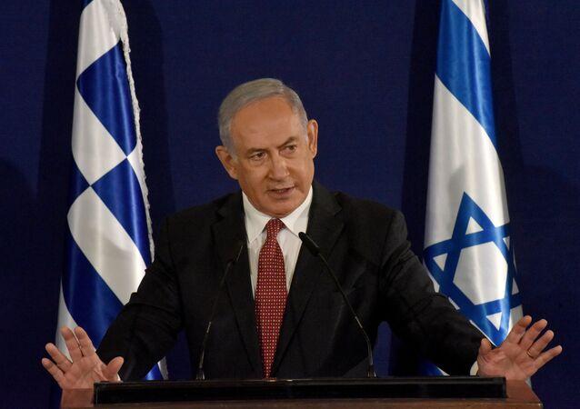 Israeli Prime Minister Benjamin Netanyahu speaks during a press briefing with Greek Prime Minister Kyriakos Mitsotakis (not pictured) in Jerusalem, June 16, 2020