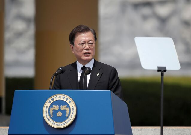 South Korean President Moon Jae-in speaks during a Memorial Day ceremony at the national cemetery in Daejeon, South Korea,  June 6, 2020