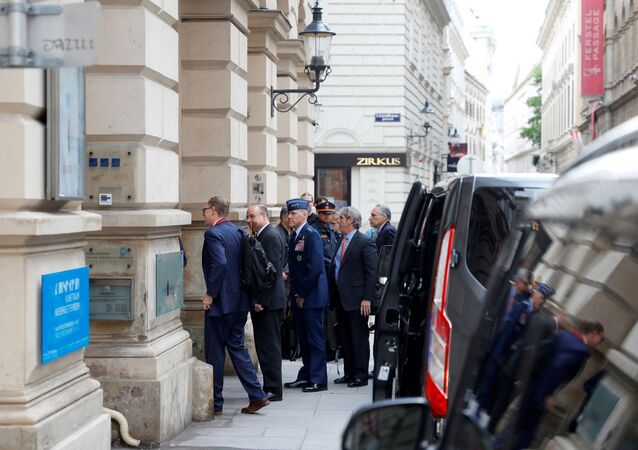 U.S. special envoy Marshall Billingslea and his delegation arrive for a meeting with Russian deputy Foreign Minister Sergei Ryabkov in Vienna, Austria June 22, 2020