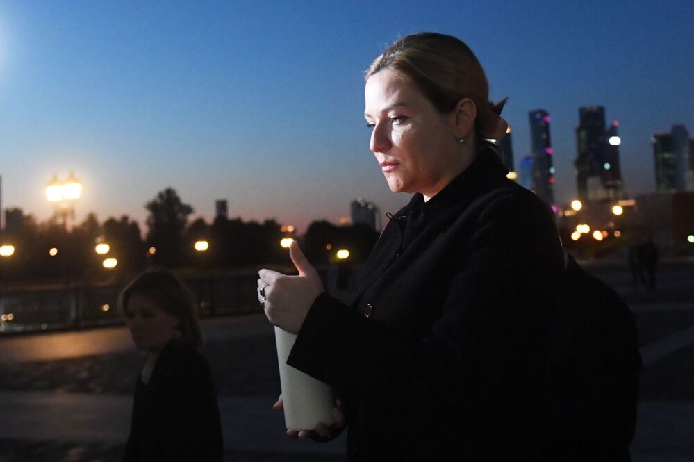 Russian Minister of Culture Olga Lyubimova during the creation of a painting with candles The Fire Picture of War near the walls of the Victory Museum on Poklonnaya Hill in Moscow.