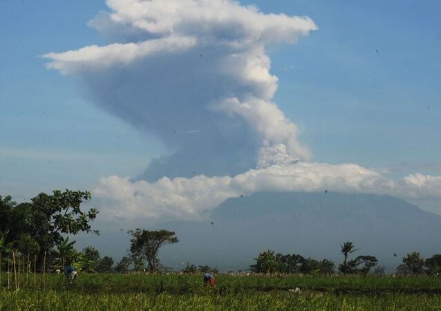 A view of Mount Merapi following an eruption, as seen from Sawit village, Boyolali, Central Java Province, Indonesia 21 June 2020