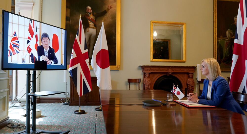 Britain's Secretary of State of International Trade and Minister for Women and Equalities Liz Truss attends a joint videoconference with Japan's Minister for Foreign Affairs Toshimitsu Motegi at the Department for International Trade, in London, Britain, June 9, 2020