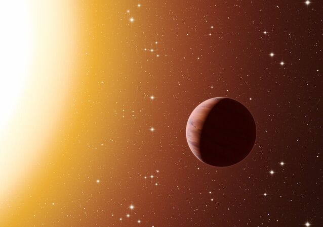 This artist's impression shows a hot Jupiter planet orbiting close to one of the stars in the rich old star cluster Messier 67, in the constellation of Cancer (The Crab)