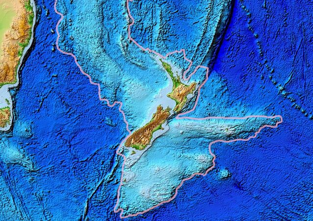 Topographical map of the Zealandia continent