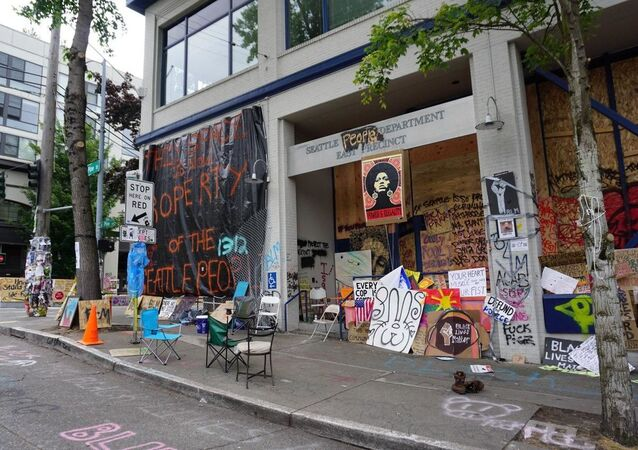 Seattle Police Department East Precinct amid protests against police brutality in June 2020