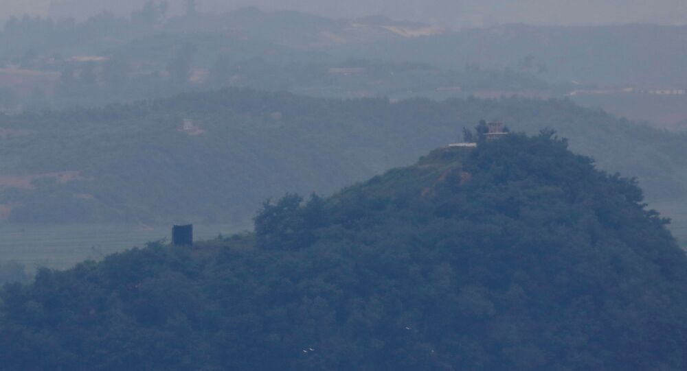 A North Korean loudspeaker is seen near the demilitarized zone which separates the two Koreas in Paju