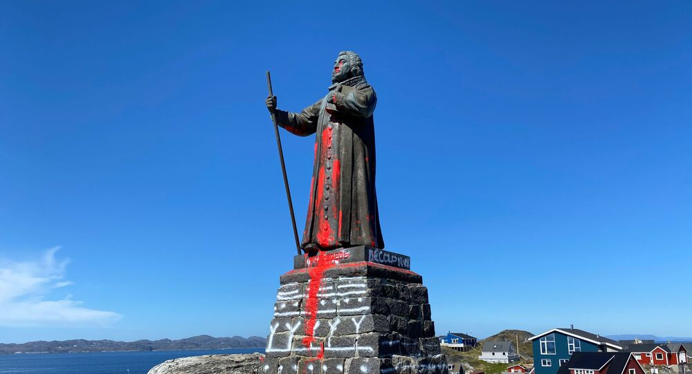 The statue of Hans Egede is seen after being vandalized in Nuuk, Greenland June 21, 2020.