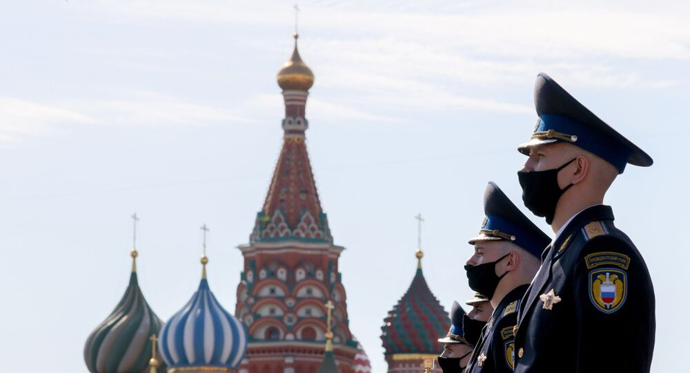 Russian servicemen from the Presidential Regiment preparing for the Victory Day Parade at the Red Square in Moscow. 24 June 2020.