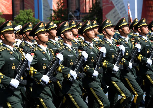 Chinese People's Liberation Army marches through Red Square during a military parade to mark the 75th anniversary of Victory in the Great Patriotic War of 1941-1945