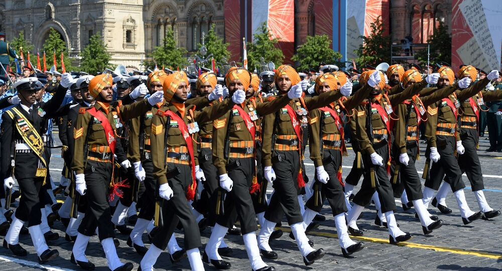 Indian army takes part in a military parade to mark the 75th anniversary of Victory in the Great Patriotic War of 1941-1945 in Red Square in Moscow.