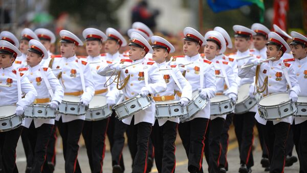 Drummers of the cadet corps at a military parade to mark the 75th anniversary of Victory in the Great Patriotic War of 1941-1945. - Sputnik International