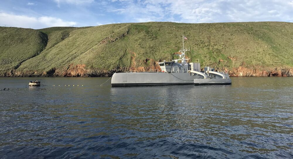 181031-N-YG220-003 (Feb. 1, 2019) Sea Hunter, an entirely new class of unmanned sea surface vehicle developed in partnership between the Office of Naval Research (ONR) and the Defense Advanced Research Projects Agency (DARPA), recently completed an autonomous sail from San Diego to Hawaii and back—the first ship ever to do so autonomously. Sea Hunter is part of ONR's Medium Displacement Unmanned Surface Vehicle (MDUSV) project