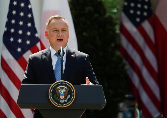 Poland's President Andrzej Duda in the Rose Garden at the White House in Washington