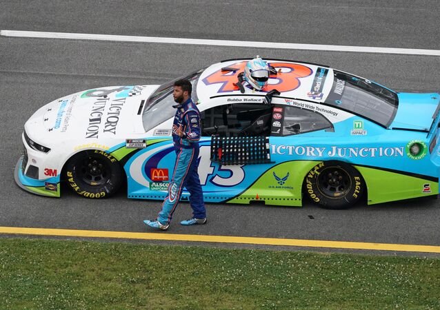 NASCAR Cup Series driver Bubba Wallace (43) reacts after the Geico 500 at Talladega Superspeedway.