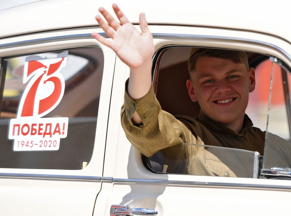 An actor is seen here on Svobody Square in Kazan during the military parade to commemorate the 75th anniversary of Victory in World War II