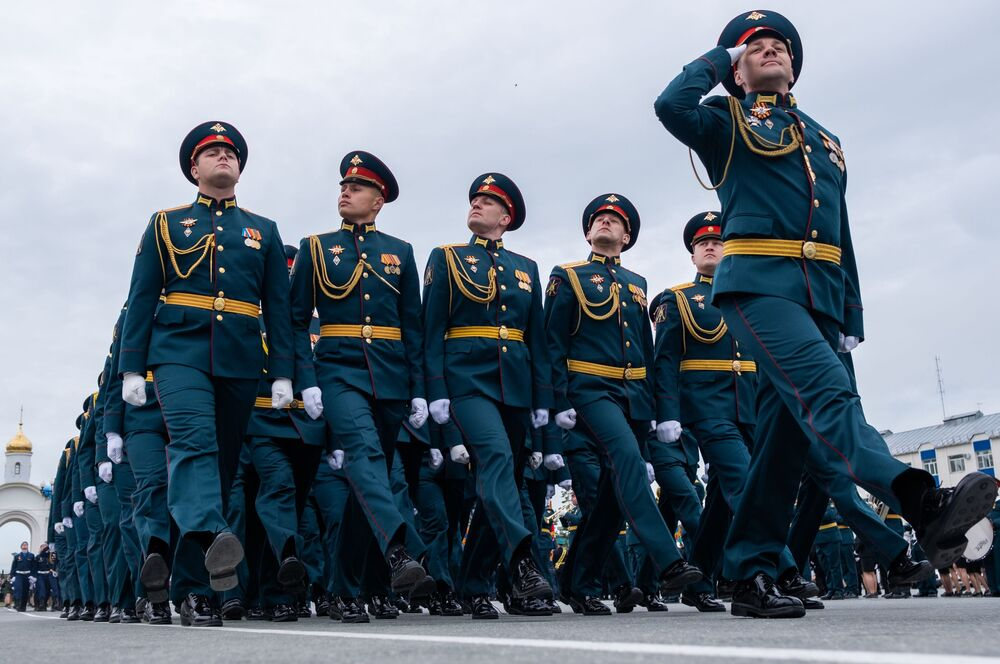 Parade unit servicemen march in Yuzhno-Sakhalinsk during the military parade to commemorate the 75th anniversary of Victory in World War II