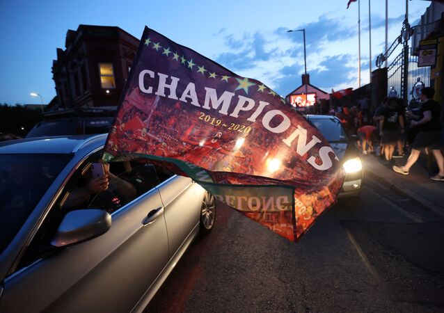 Liverpool fans celebrate winning the Premier League - Liverpool, Britain - June 25, 2020