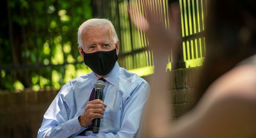 Joe Biden, Democratic 2020 U.S. presidential candidate and former vice president, meets with families who have benefited from the Affordable Care Act and delivers remarks on health care during a campaign stop in Lancaster, Pennsylvania, U.S. June 25, 2020.